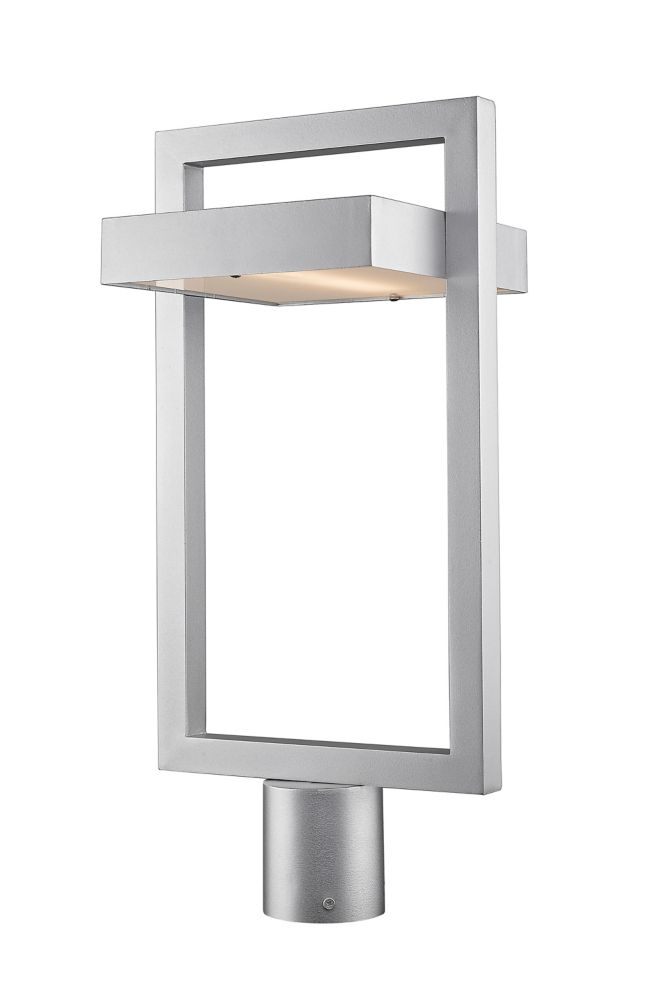 1-Light Silver Outdoor LED Post Mount Light with Frosted Glass - 10.5 inch