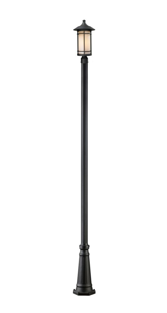 1-Light Black Outdoor Post Mount with Matte Opal Glass - Dimmable