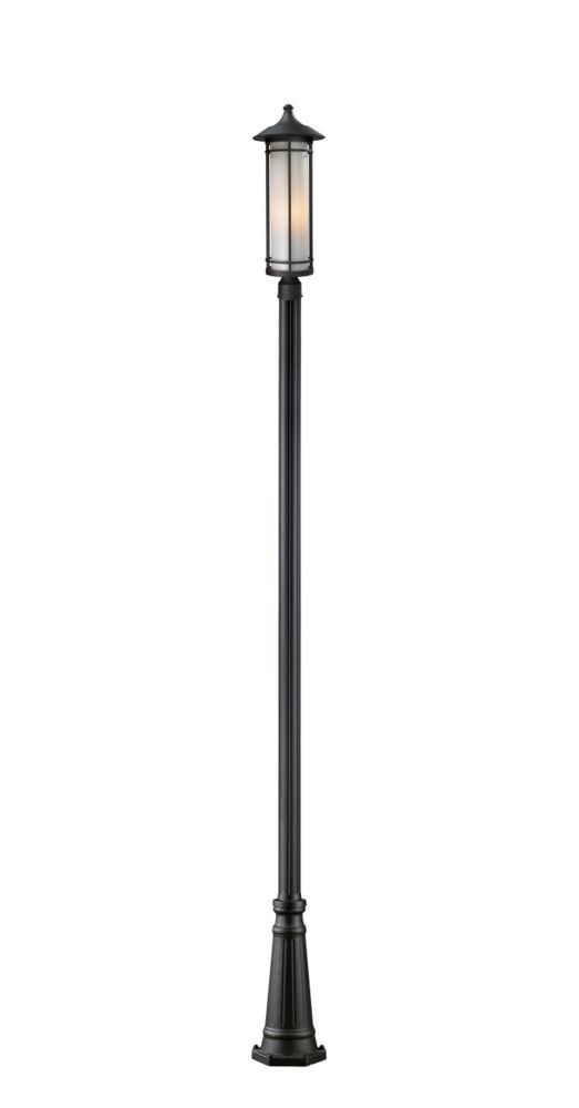 Filament Design 1-Light Black Outdoor Dimmable Post Mount with Matte Opal Glass Shade - 10 inch