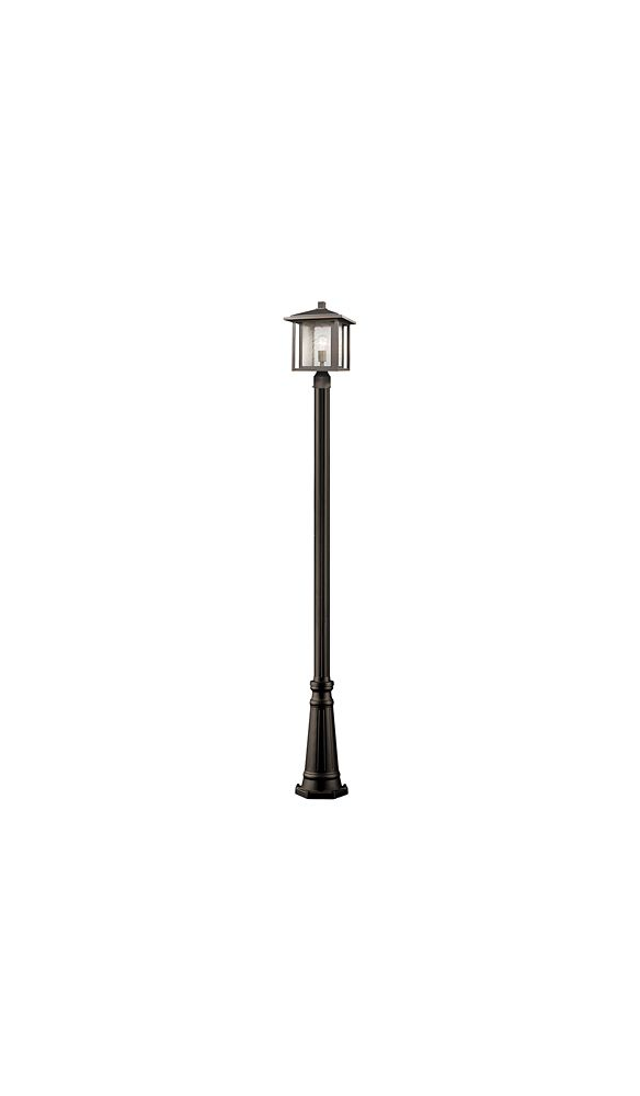 Filament Design 1-Light Oil Rubbed Bronze Outdoor Post Mount with Clear Seedy Glass Shade - 11 inch