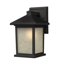 Filament Design 1-Light Black Outdoor Wall Sconce with White Seedy Glass