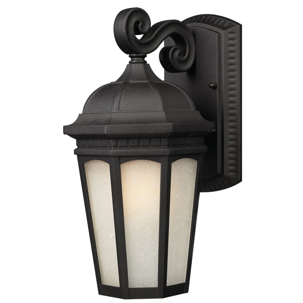 1-Light Black Outdoor Wall Sconce with White Seedy Glass - 11.875 inch