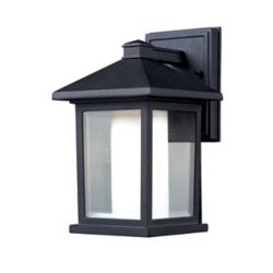 Filament Design 1-Light Black Outdoor Wall Sconce with Clear Beveled and Matte Opal Glass - 7.125 inch