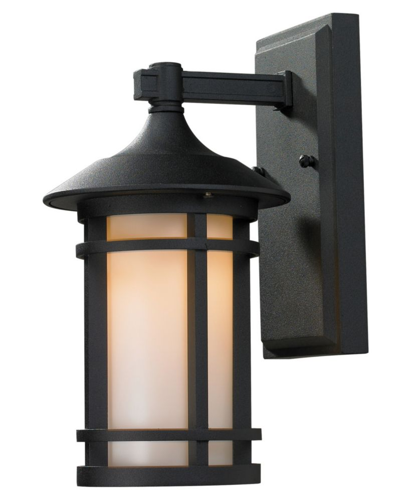 Filament Design 1-Light Black Outdoor  Sconce with Matte Opal Glass - 7 inch