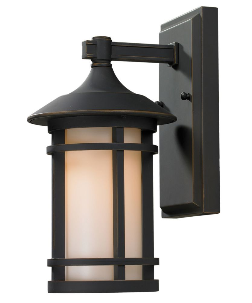 Filament Design 1-Light Oil Rubbed Bronze Outdoor  Sconce with Matte Opal Glass - 7 inch