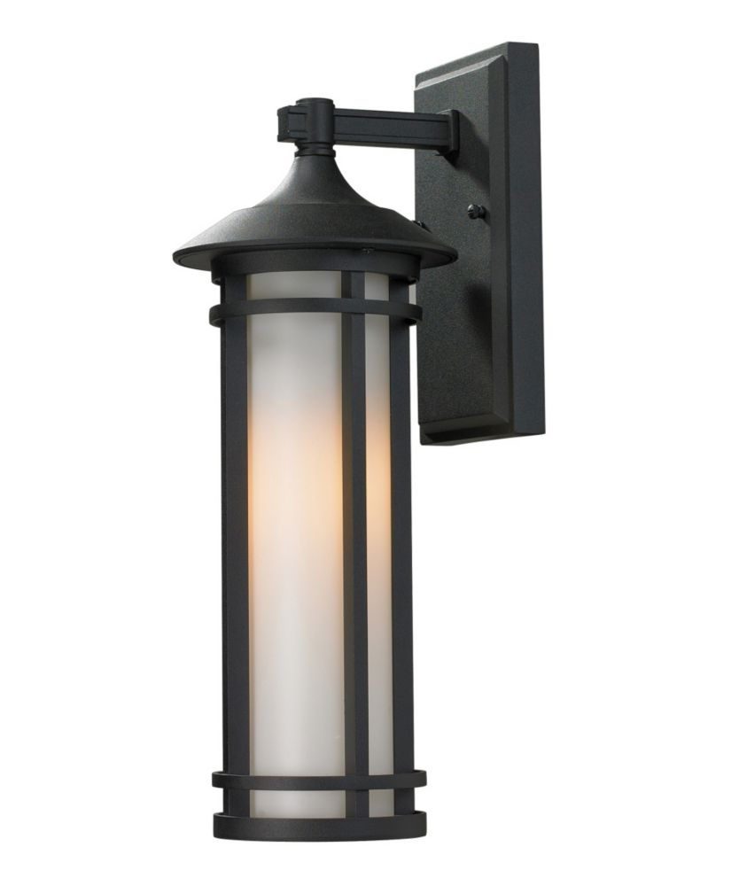 Filament Design 1-Light Black Outdoor Wall Sconce with Matte Opal Glass - 7 inch