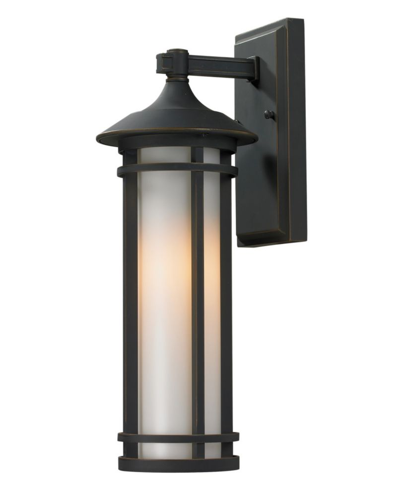 1-Light Oil Rubbed Bronze Outdoor Wall Sconce with Matte Opal Glass - 7 inch