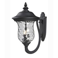Filament Design Applique d'extérieur noir à 3 ampoules avec verre transparent