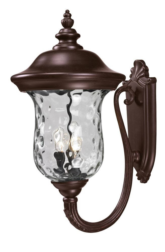 Filament Design 3-Light Bronze Outdoor  Sconce with Clear Water Glass - 16 inch