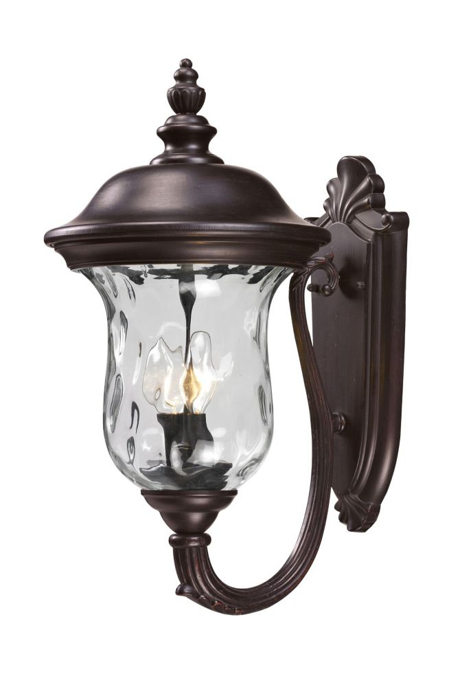 Filament Design 2-Light Bronze Outdoor Wall Sconce with Clear Water Glass - 12.7952755905512 inch
