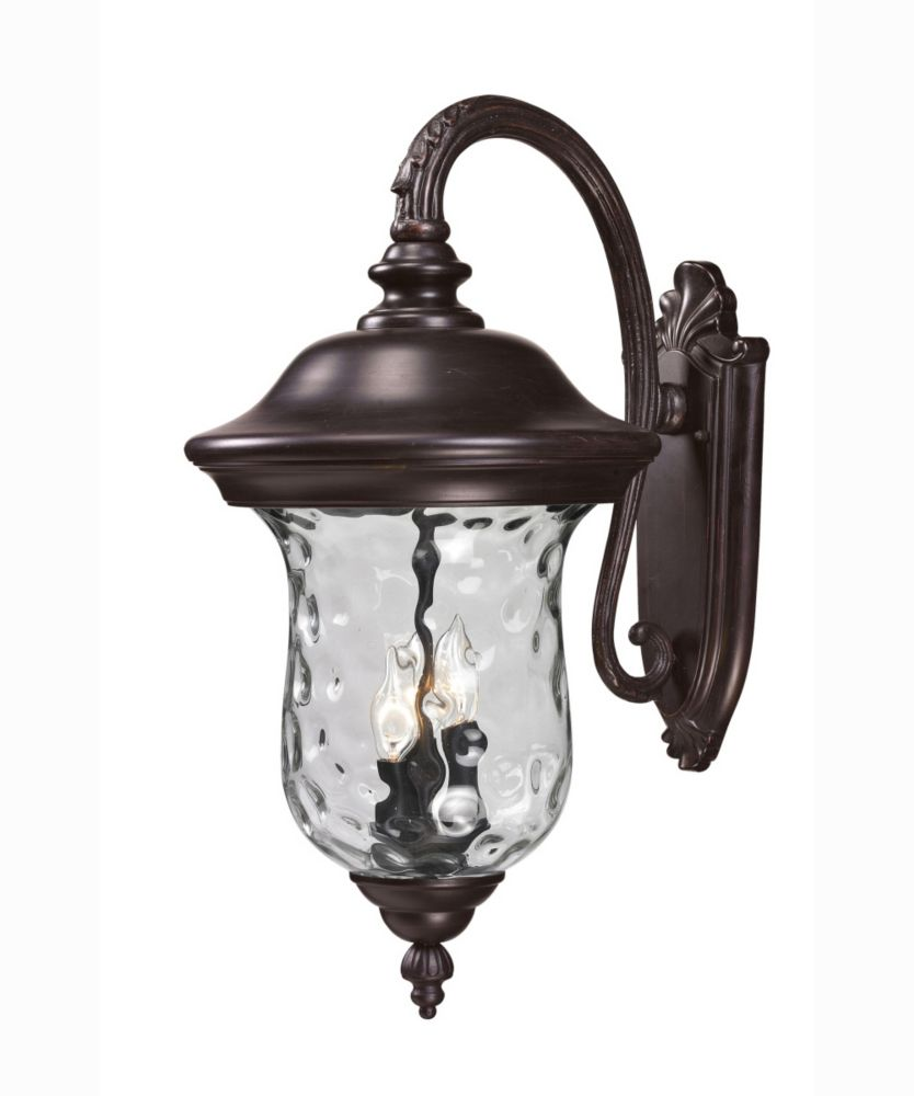 Filament Design 3-Light Bronze Outdoor Wall Sconce with Clear Water Glass - 16 inch