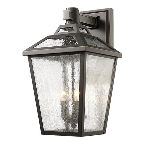 Filament Design 3-Light Oil Rubbed Bronze Outdoor Wall Sconce with Clear Seedy Glass - 13.13 inch
