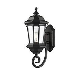 Filament Design Applique d'extérieur noire à 1 lumière avec verre biseauté transparent
