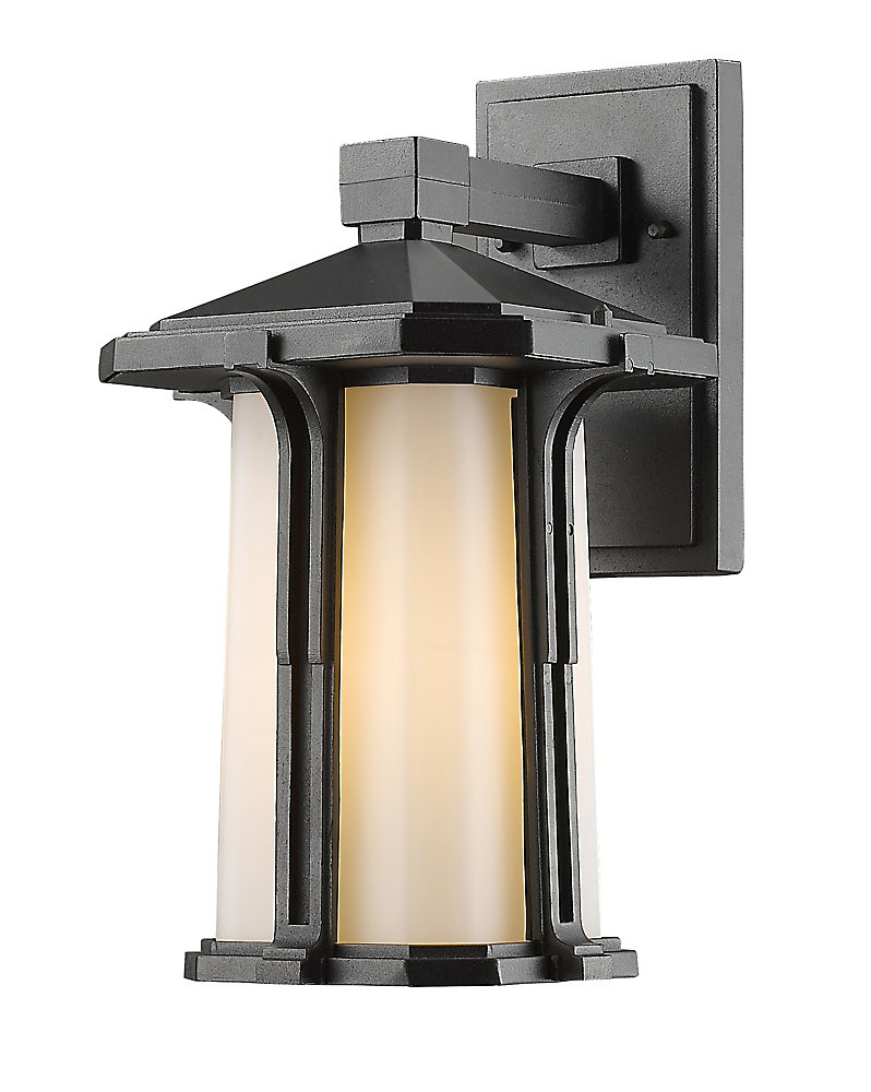 1-Light Black Outdoor Wall Sconce With Matte Opal Glass