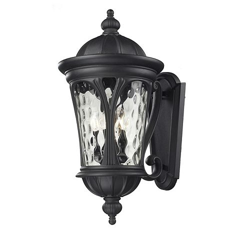 Filament Design 5-Light Black Outdoor Wall Sconce with Water Glass - 17.75 inch