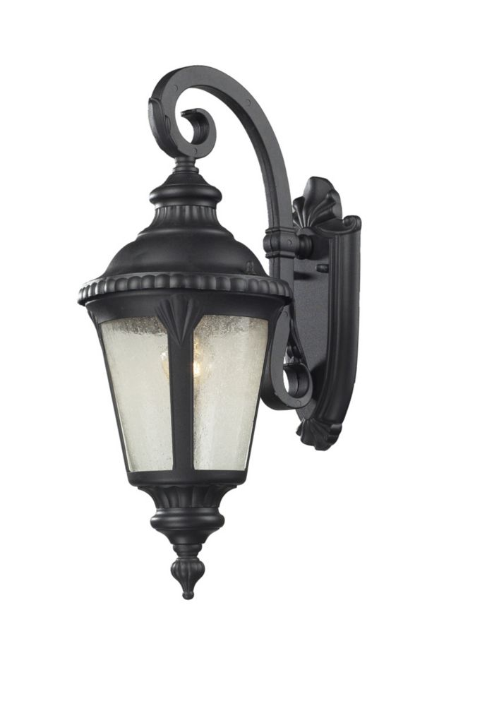 Filament Design 1-Light Black Outdoor Wall Sconce with Clear Seedy Glass - 10.75 inch