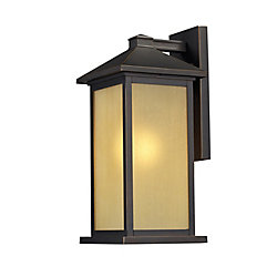 Filament Design 1-Light Oil Rubbed Bronze Outdoor Wall Sconce with Tinted Seedy Glass - 10.75 inch