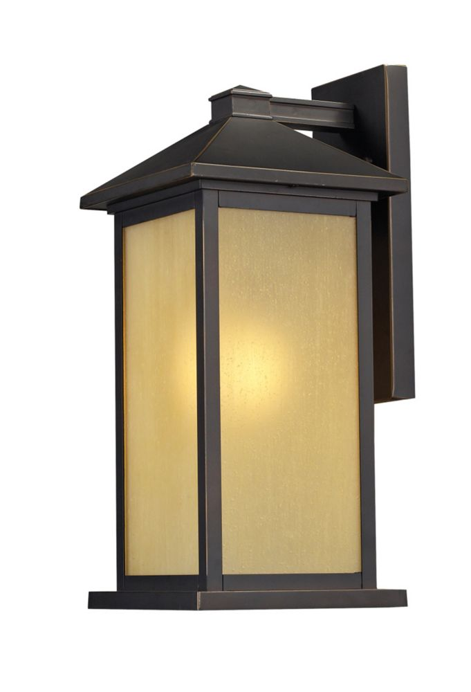 1-Light Oil Rubbed Bronze Outdoor Wall Sconce with Tinted Seedy Glass - 10.75 inch