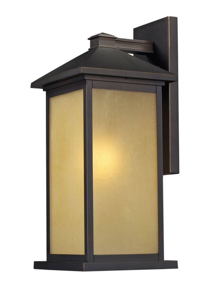 Filament Design 1-Light Oil Rubbed Bronze Outdoor Wall Sconce with Tinted Seedy Glass - 9.125 inch