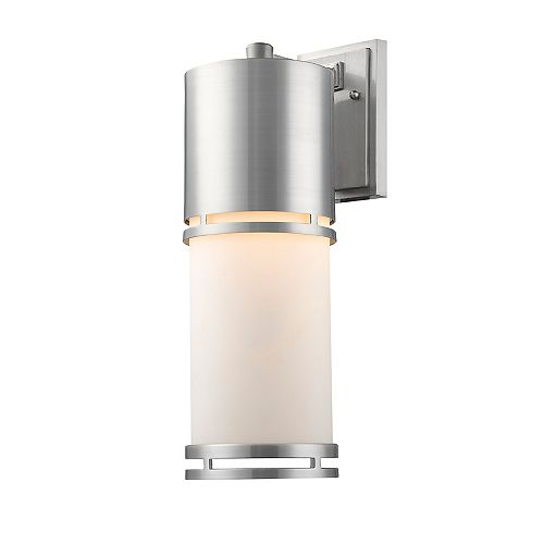 Filament Design 1-Light Brushed Aluminum Shade Outdoor Wall Sconce with Matte Opal Glass - 8.25 inch
