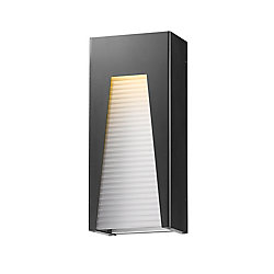 Filament Design 1-Light Black Silver LED Outdoor Wall Sconce with Frosted Ribbed Glass - 3.63 inch