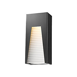 Filament Design 1-Light Black Silver Outdoor LED Wall Sconce with Frosted Ribbed Glass - 3.63 inch