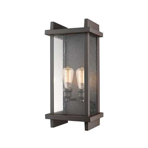 Filament Design 2-Light Deep Bronze Outdoor Wall Sconce with Clear Seedy Glass - 7.5 inch