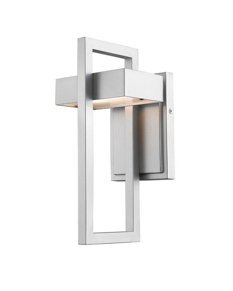 1-Light Silver Outdoor Wall Sconce with Frosted Glass - 5.75 inch