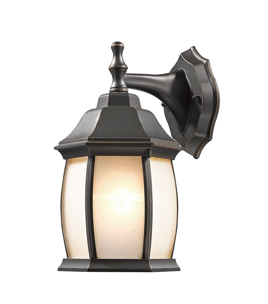 Filament Design 1-Light Oil Rubbed Bronze Outdoor Wall Sconce with White Seedy Glass Shade
