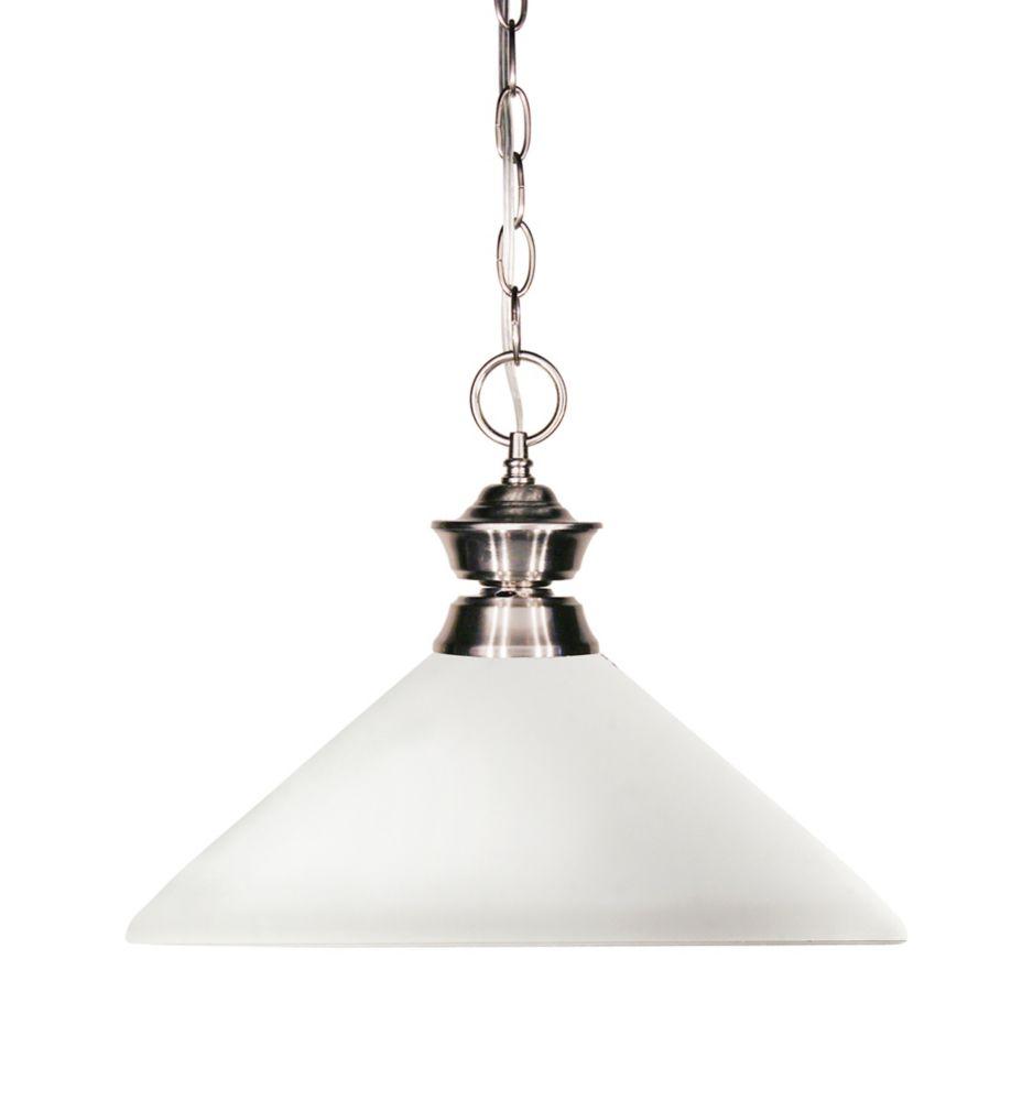 Filament Design 1-Light Brushed Nickel Pendant with Matte Opal Glass