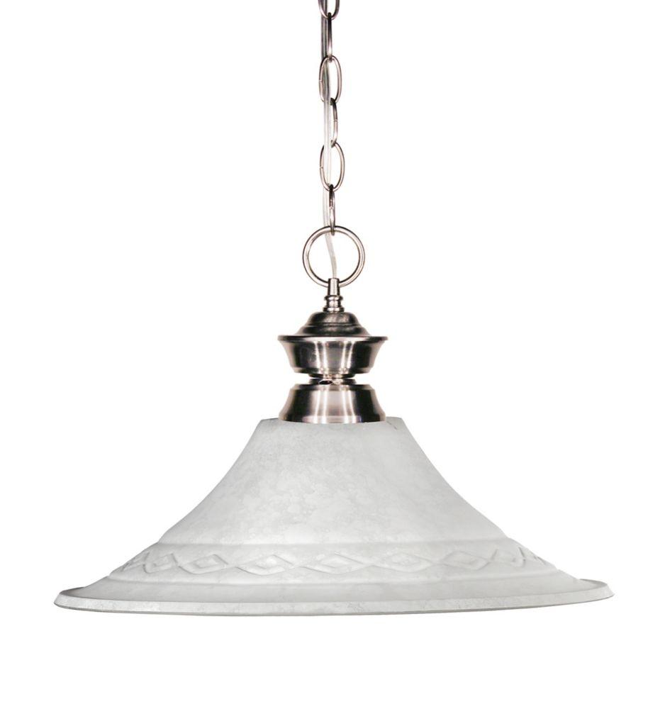 Filament Design 1-Light Brushed Nickel Pendant with White Mottle Glass