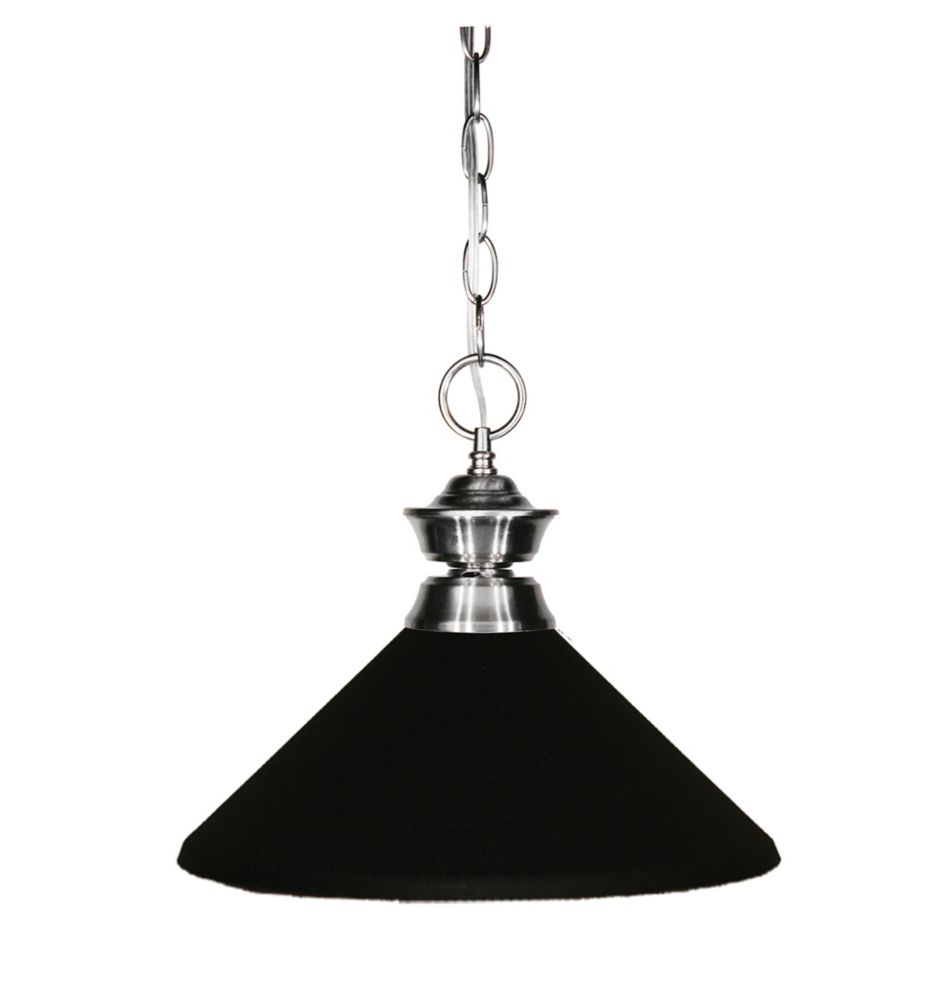 1-Light Brushed Nickel Pendant with Matte Black Steel Shade - 14 inch