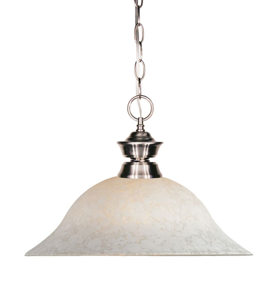 Filament Design 1-Light Brushed Nickel Pendant with White Mottle Glass Shade