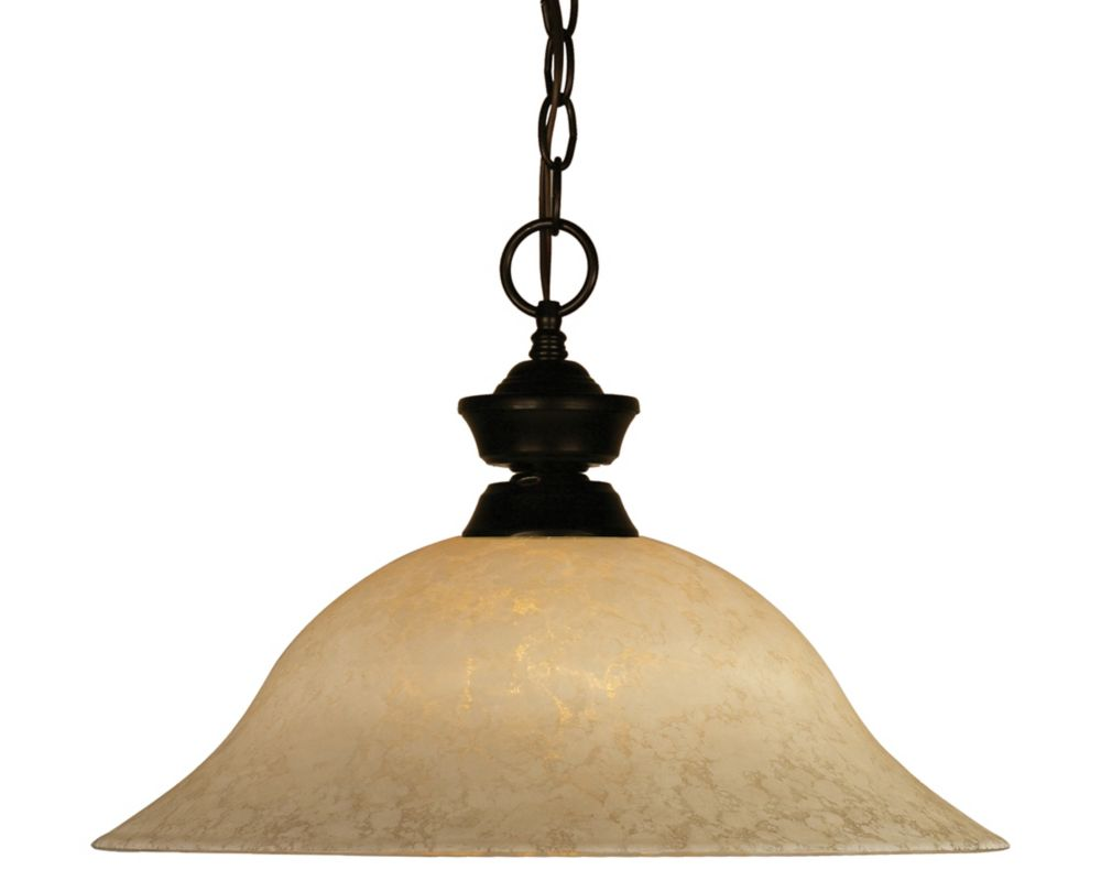 Filament Design 1-Light Bronze Pendant with Golden Mottle Glass - 16 inch