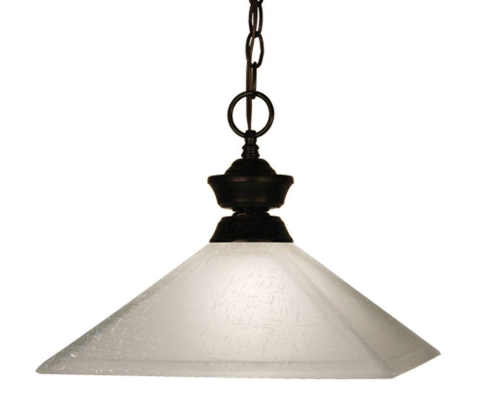 Filament Design 1-Light Bronze Pendant with White Linen Glass - 13 inch