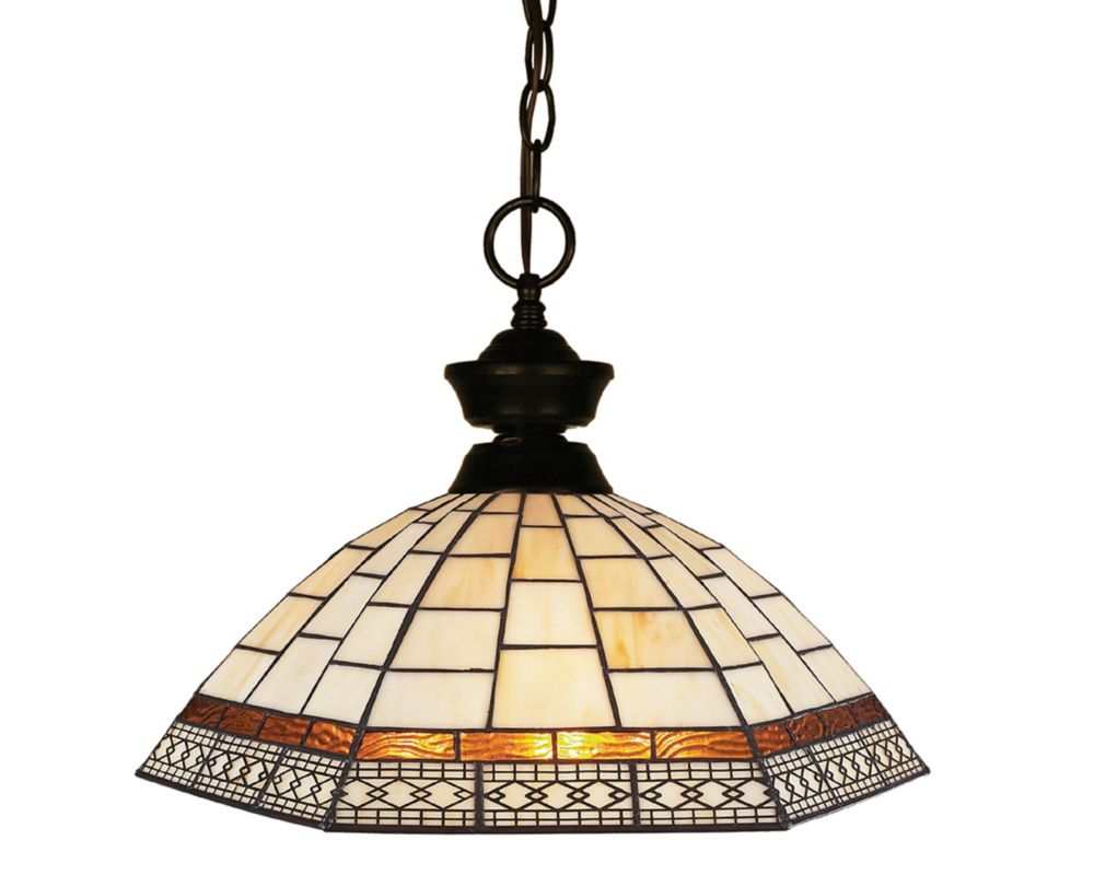 Filament Design 1-Light Bronze Pendant with Multi Colored Tiffany Glass - 14 inch