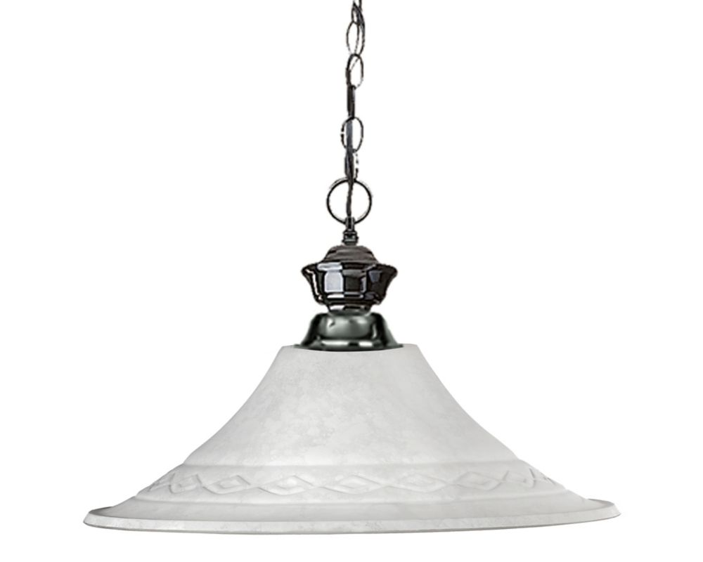 Filament Design 1-Light Gun Metal Dimmable Pendant with White Mottle Glass - 16 inch
