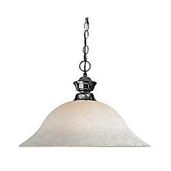 Filament Design Luminaire suspendu à 1 ampoule en métal avec verre à fleurs blanc - 16 pouces