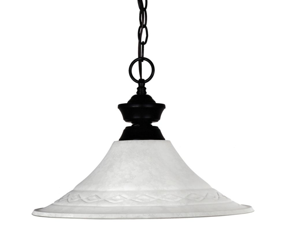 Filament Design 1-Light Matte Black Dimmable Pendant with White Mottle Glass - 16 inch
