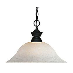 Filament Design Luminaire suspendu noir à 1 lumière avec verre à semelle blanc - 16 po
