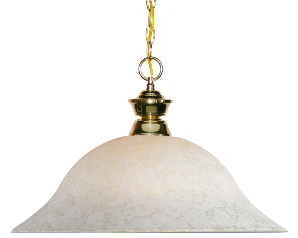 Filament Design 1-Light Polished Brass Pendant with White Mottle Glass - 16 inch