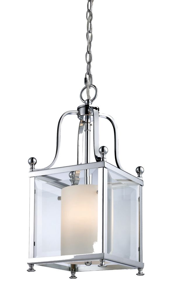 Filament Design 3-Light Chrome Pendant with Clear Beveled and Matte Opal Glass - 8.25 inch