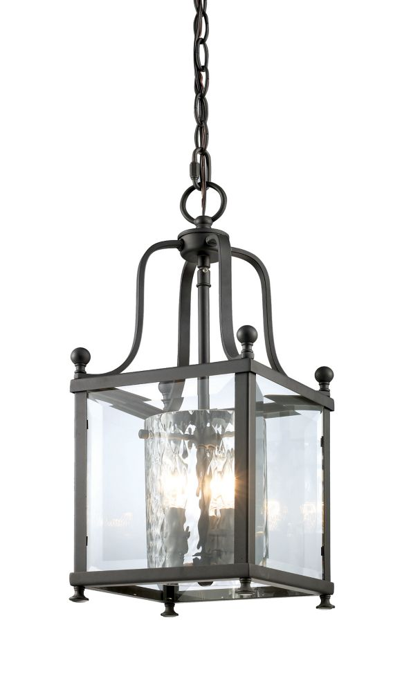 Filament Design 3-Light Bronze Pendant with Clear Beveled and Clear Hammered Glass - 8.25 inch