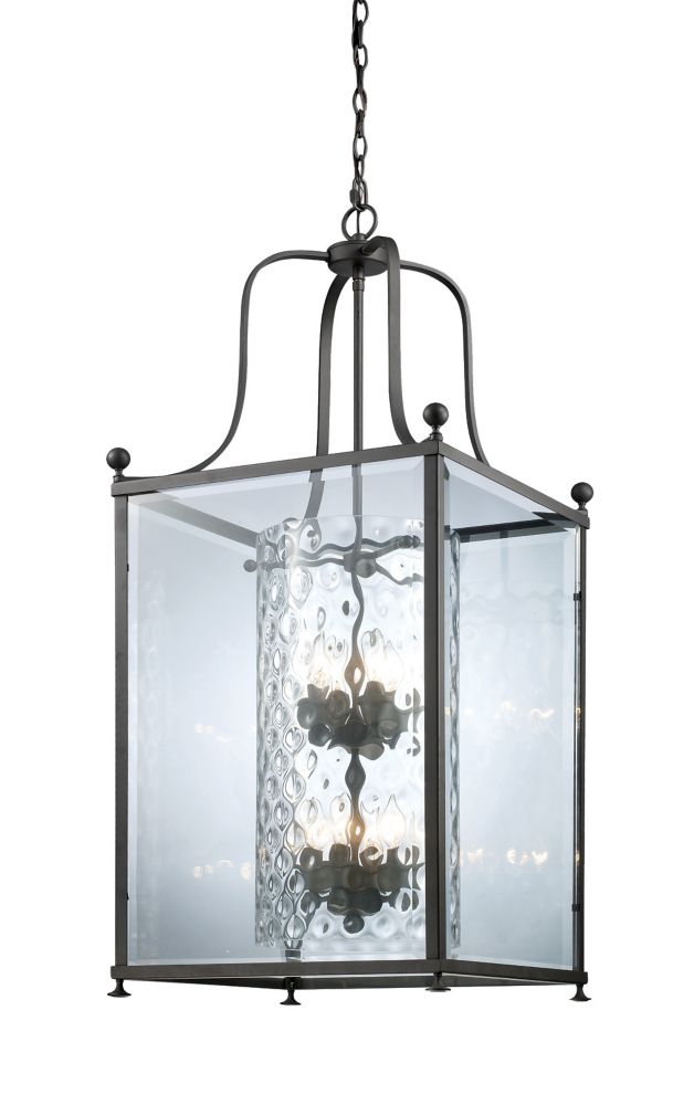 Filament Design 8-Light Bronze Pendant with Clear Beveled and Clear Hammered Glass - 18.5 inch