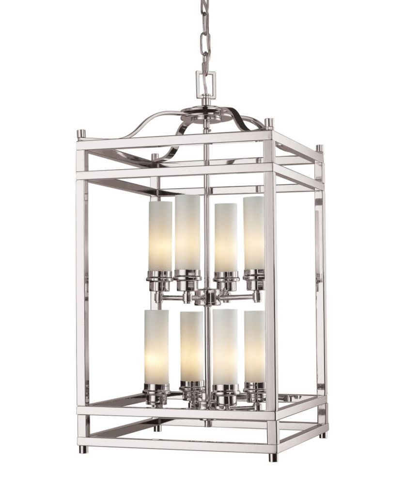 Filament Design 8-Light Brushed Nickel Pendant with Matte Opal Glass - 15 inch