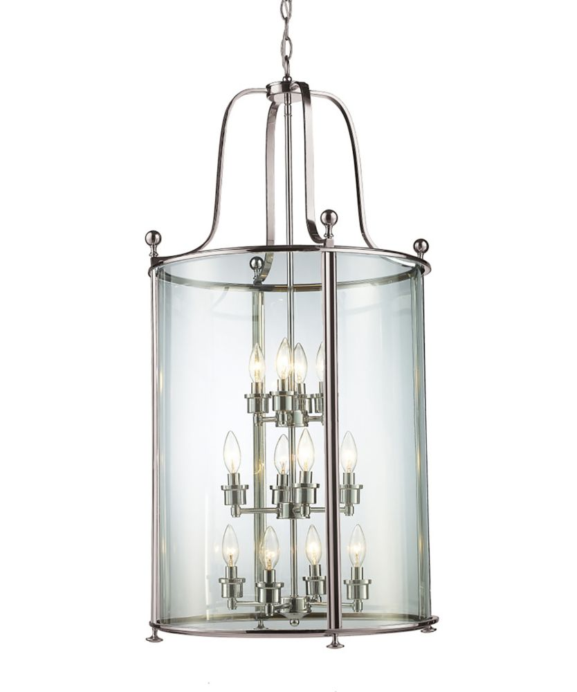 Filament Design 12-Light Brushed Nickel Pendant with Clear Glass - 21.5 inch