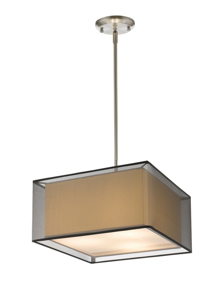 Filament Design 3-Light Brushed Nickel Pendant with Black and White Organza Shade - 15 inch
