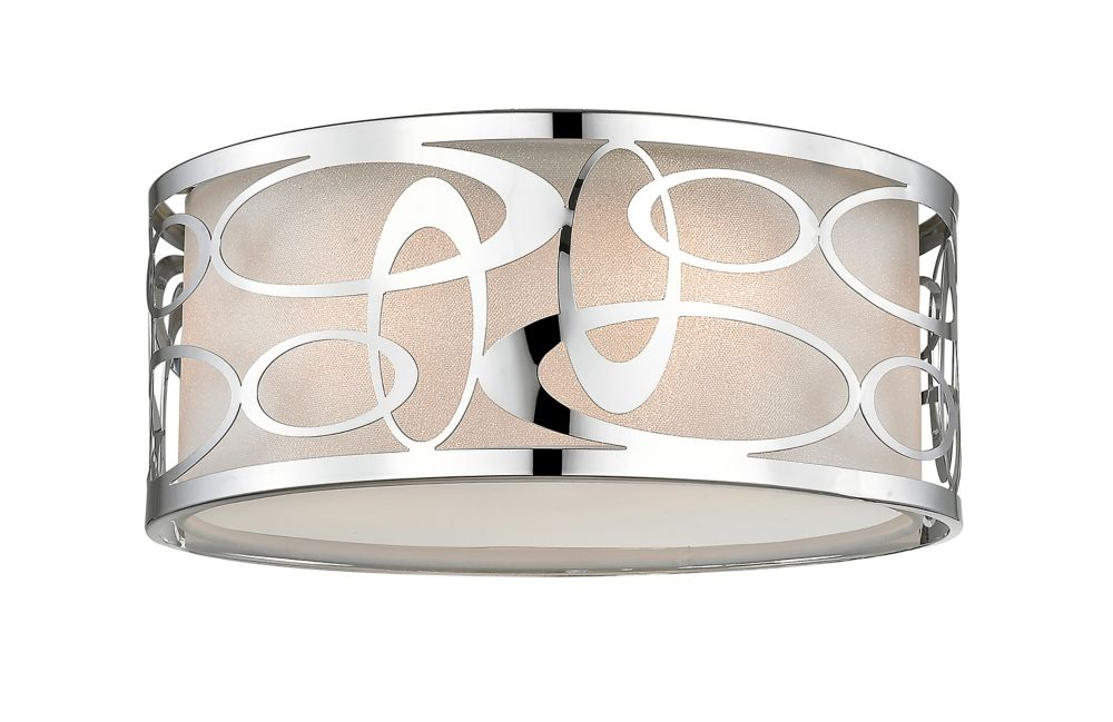 Filament Design 3-Light Chrome Pendant with White Fabric Shade