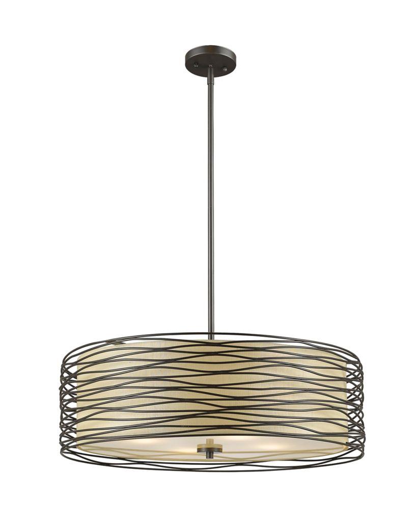 Filament Design 4-Light Bronze Pendant with Flax Linen Fabric Shade - 24 inch