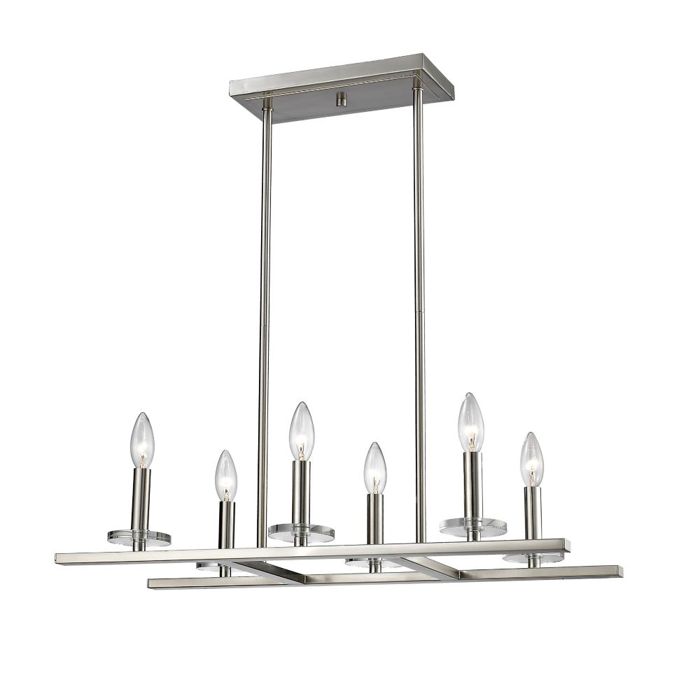 6-Light Brushed Nickel Pendant - 26 inch